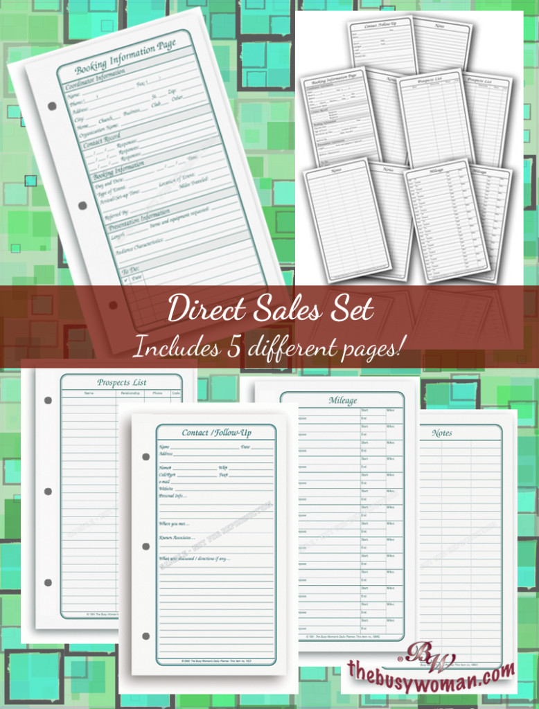Direct Sales Set planner pages by The Busy Woman's Daily Planner thebusywoman.com