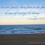1Cor 16:13 Be on your guard; stand firm in the faith; be men of courage; be strong - photo by Susie Glennan thebusywoman.com