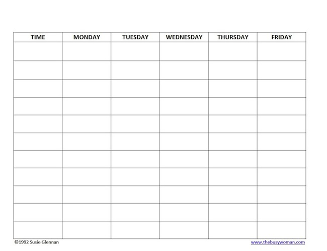 free homeschool schedule blank 5 day by thebusywomancom - Free Schedule Template