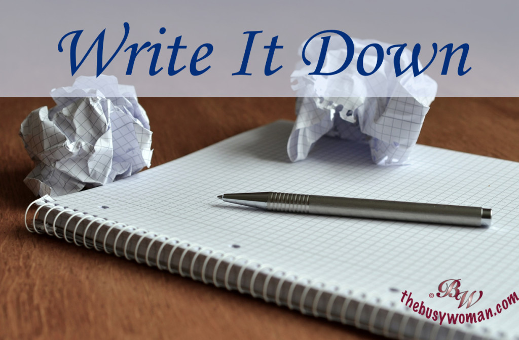 write it down by Susie Glennan thebusywoman.com