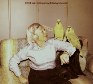 My beautiful Grandma with our parrots by Susie Glennan The Busy Woman www.thebusywoman.com