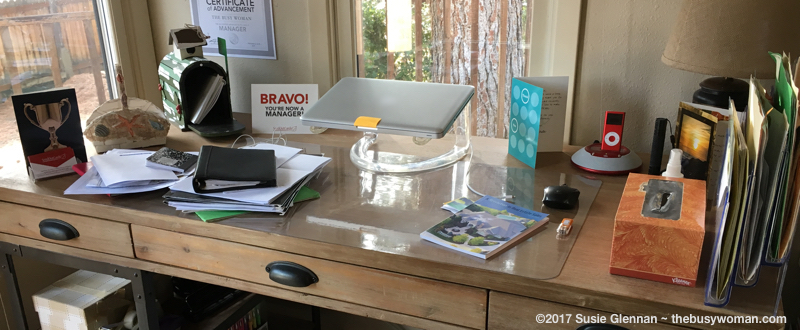 Organizing Your Office Again messy desk on thebusywoman.com